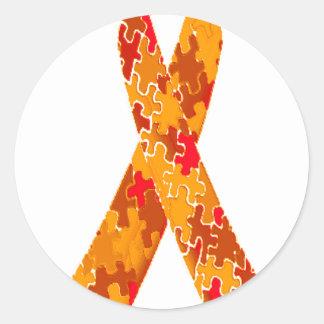 Orange Red Jigsaw Puzzle Pattern Ribbon Classic Round Sticker