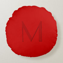 Orange Red Monogrammed Round Pillow