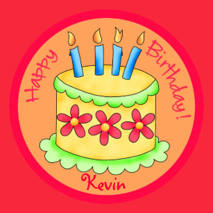 Orange Red Name Personalized Happy Birthday Party Paper Plate