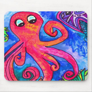 Orange-Red Octopus Mousepad