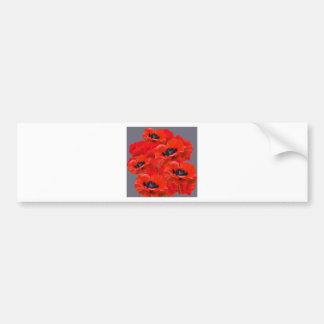 ORANGE-RED ORIENTAL POPPIES ON GREY BUMPER STICKER