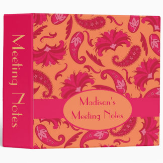 Orange Red Paisley Name Personalized Custom Album Binder