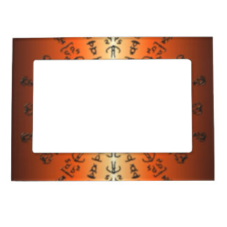 Orange/red Pattern with strange sign Magnetic Picture Frame