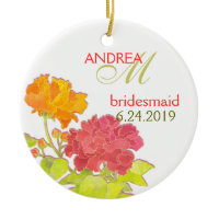Orange Red Peony Wedding Bridesmaids Gift Ornament