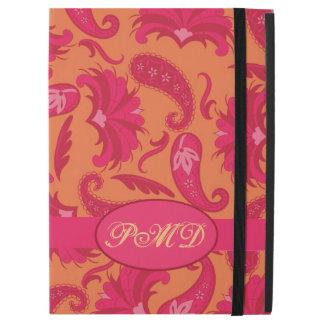 Orange Red Pink Art Deco Paisley Monogram iPad Pro Case