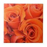 Orange Red Roses Flowers Bouquet Bright Rose Petal Tiles