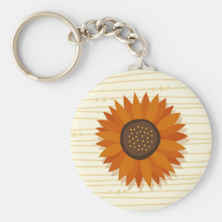 Orange red sunflower on abstract wood background keychain