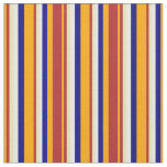 [ Thumbnail: Orange, Red, Tan, White & Blue Colored Lines Fabric ]