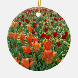 Orange & Red Tulips Double-Sided Ceramic Round Christmas Ornament