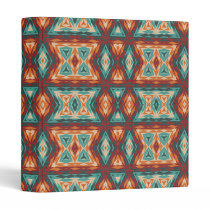 Orange Red Turquoise Rustic Cabin Mosaic Pattern Binder