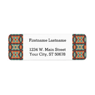 Orange Red Turquoise Rustic Cabin Mosaic Pattern Label