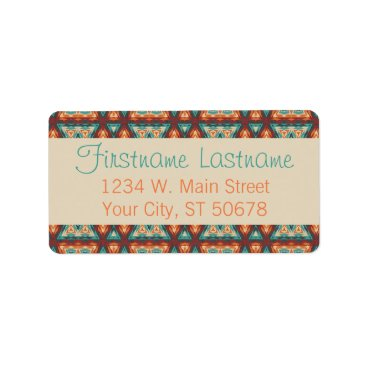 DeskDrawer Orange Red Turquoise Rustic Cabin Mosaic Pattern Label