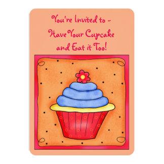 Orange Red Whimsy Art Cupcake Party Invitation