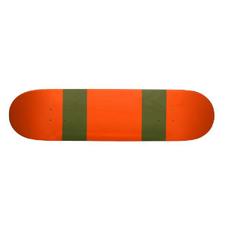 Orange Red with Two Army Green Lines Skate Boards