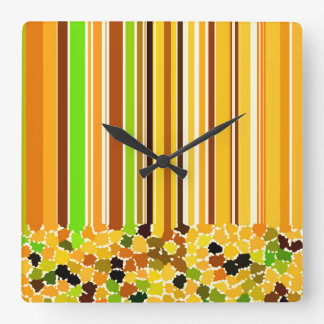 Orange Red Yellow Honey Apple Green Coffee Brown Square Wall Clock