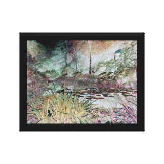 Orange reeds and view across a lily pond canvas print