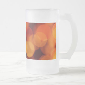 Orange Reflections of Light Frosted Glass Beer Mug