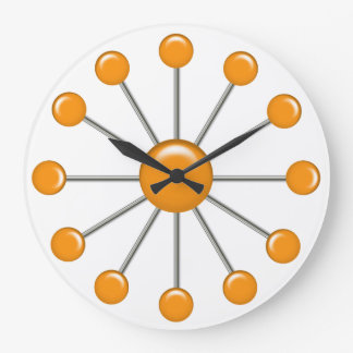 Orange Retro Balls Wall Clock