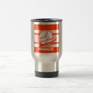 Orange Retro Baseball Style Travel Mug