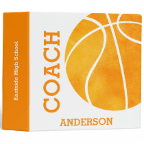 Orange Retro Basketball Coach Personalized Trendy Binder