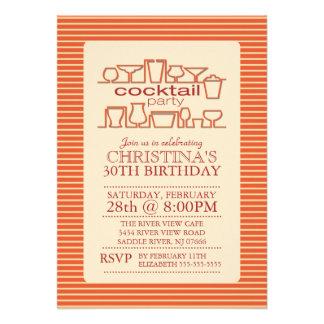 Orange Retro Cocktail Birthday Party Custom Invitations