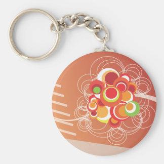 Orange retro Design Basic Round Button Keychain