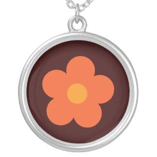 Orange Retro Flower Brown Custom Round Pendant Necklace
