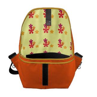 Orange Retro Flowers Messenger Bag