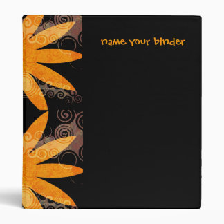 Orange Retro Flowers Patterned Binder
