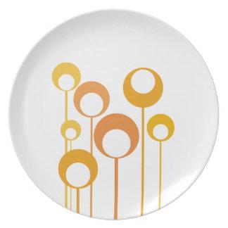 orange retro flowers plate