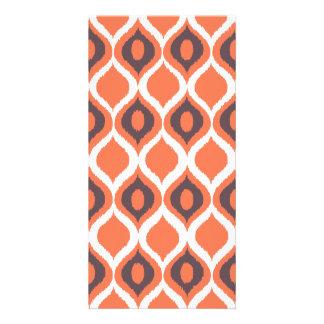 Orange Retro Geometric Ikat Tribal Print Pattern Card
