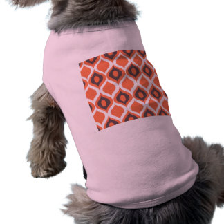 Orange Retro Geometric Ikat Tribal Print Pattern Doggie Tee