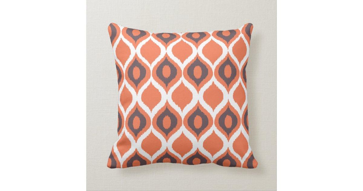 Ikat Design Throw Pillows : Orange Retro Geometric Ikat Tribal Print Pattern Throw Pillow Zazzle