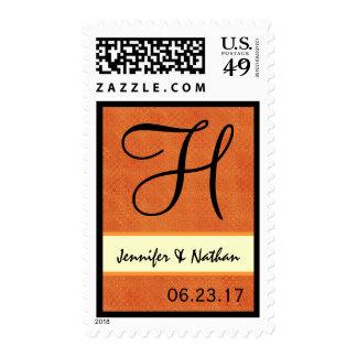 Orange Retro Op Art Dots Wedding Monogram H Postage Stamps