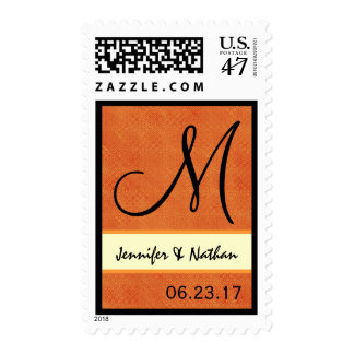 Orange Retro Op Art Dots Wedding Monogram Postage
