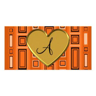 Orange retro squares monogram custom photo card