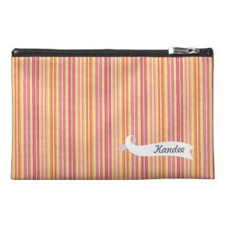 Orange Retro Stripes Pattern Name Make Up Bag! Travel Accessory Bags