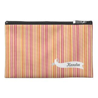 Orange Retro Stripes Pattern Name Make Up Bag! Travel Accessory Bags