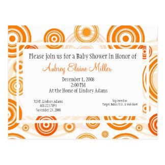 Orange Retro Targets Baby Shower Invitation Postcard