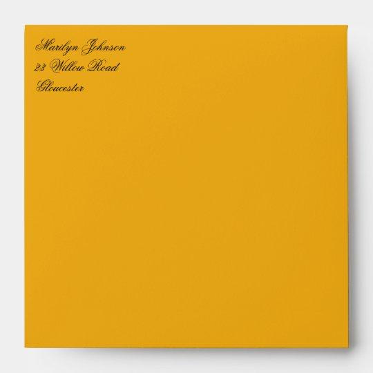 """Orange Return Address Envelope for 5"""" Square"""