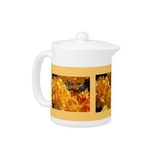 Orange Rhodies Flowers Tea Pots custom gifts