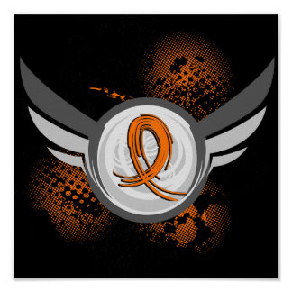 Orange Ribbon And Wings Kidney Cancer Print