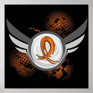 Orange Ribbon And Wings Leukemia Poster