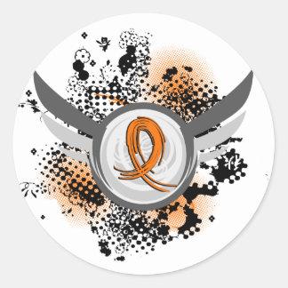 Orange Ribbon And Wings Leukemia Classic Round Sticker