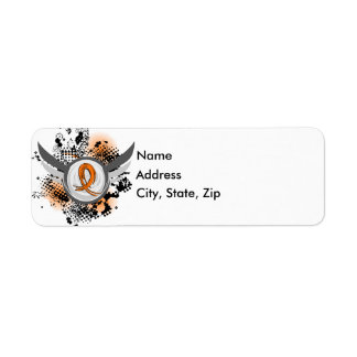 Orange Ribbon And Wings MS Return Address Label
