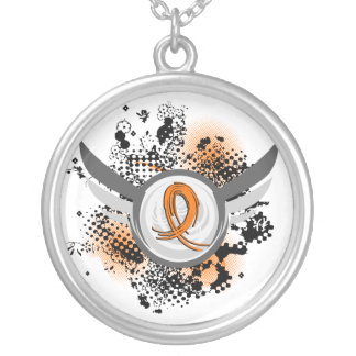 Orange Ribbon And Wings MS Round Pendant Necklace