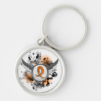 Orange Ribbon And Wings MS Silver-Colored Round Keychain