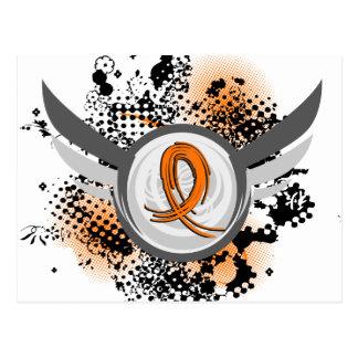 Orange Ribbon And Wings Multiple Sclerosis Postcard