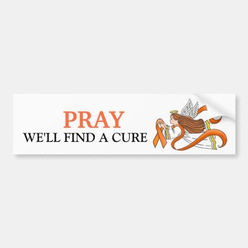 """Orange Ribbon"" Awareness Angel Bumper Stickers"