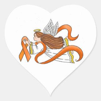 """Orange Ribbon"" Awareness Angel Heart Sticker"